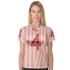 Number 4 Line Vertical Red Pink Wave Chevron Women s V Neck Sport Mesh Tee by Mariart