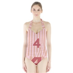 Number 4 Line Vertical Red Pink Wave Chevron Halter Swimsuit by Mariart