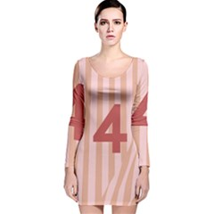 Number 4 Line Vertical Red Pink Wave Chevron Long Sleeve Velvet Bodycon Dress by Mariart