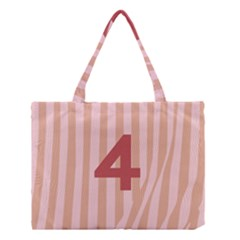 Number 4 Line Vertical Red Pink Wave Chevron Medium Tote Bag by Mariart