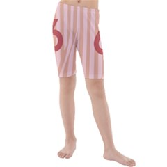 Number 6 Line Vertical Red Pink Wave Chevron Kids  Mid Length Swim Shorts by Mariart