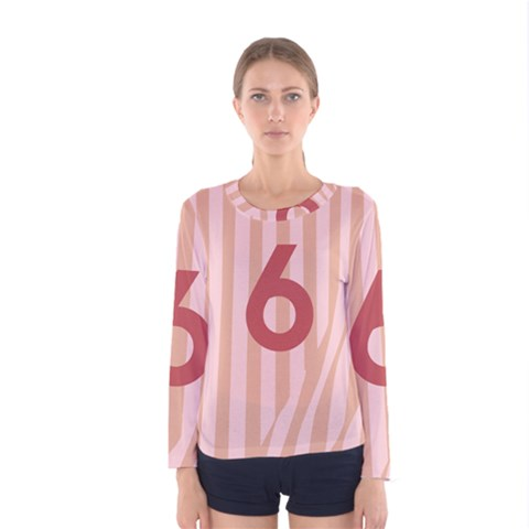 Number 6 Line Vertical Red Pink Wave Chevron Women s Long Sleeve Tee by Mariart