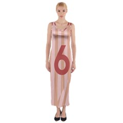 Number 6 Line Vertical Red Pink Wave Chevron Fitted Maxi Dress