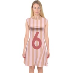 Number 6 Line Vertical Red Pink Wave Chevron Capsleeve Midi Dress