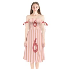 Number 6 Line Vertical Red Pink Wave Chevron Shoulder Tie Bardot Midi Dress