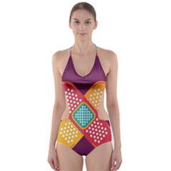 Plaster Scratch Sore Polka Line Purple Yellow Cut Out One Piece Swimsuit by Mariart