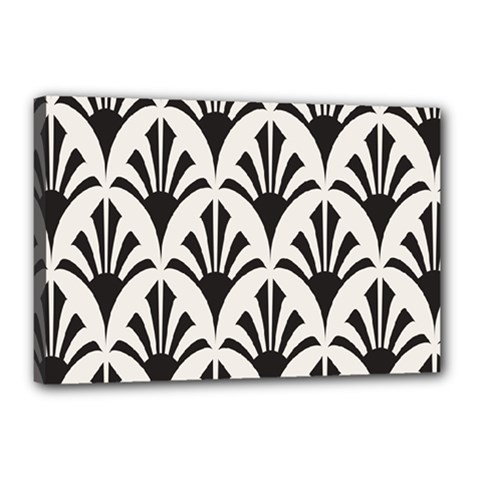 Parade Art Deco Style Neutral Vinyl Canvas 18  X 12  by Mariart
