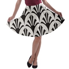 Parade Art Deco Style Neutral Vinyl A Line Skater Skirt