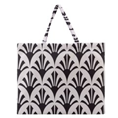 Parade Art Deco Style Neutral Vinyl Zipper Large Tote Bag by Mariart
