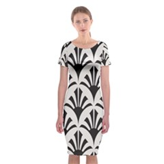 Parade Art Deco Style Neutral Vinyl Classic Short Sleeve Midi Dress by Mariart