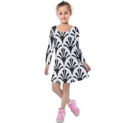 Parade Art Deco Style Neutral Vinyl Kids  Long Sleeve Velvet Dress by Mariart