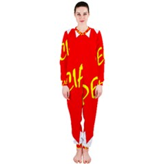Special Sale Spot Red Yellow Polka Onepiece Jumpsuit (ladies)  by Mariart