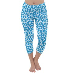 Pattern Blue Capri Winter Leggings  by Mariart