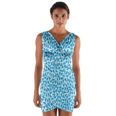 Pattern Blue Wrap Front Bodycon Dress