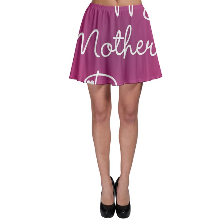 Valentine Happy Mothers Day Pink Heart Love Skater Skirt