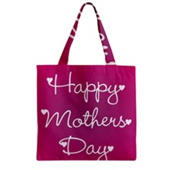 Valentine Happy Mothers Day Pink Heart Love Zipper Grocery Tote Bag by Mariart