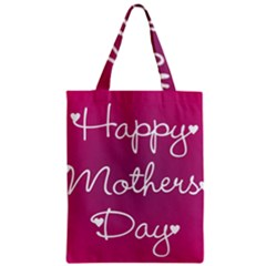 Valentine Happy Mothers Day Pink Heart Love Zipper Classic Tote Bag by Mariart