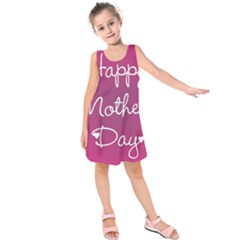 Valentine Happy Mothers Day Pink Heart Love Kids  Sleeveless Dress by Mariart