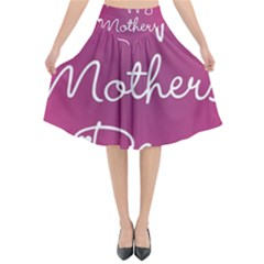 Valentine Happy Mothers Day Pink Heart Love Flared Midi Skirt