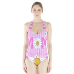 Valentine Happy Mothers Day Pink Heart Love Sunflower Flower Halter Swimsuit by Mariart