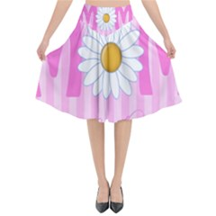 Valentine Happy Mothers Day Pink Heart Love Sunflower Flower Flared Midi Skirt by Mariart