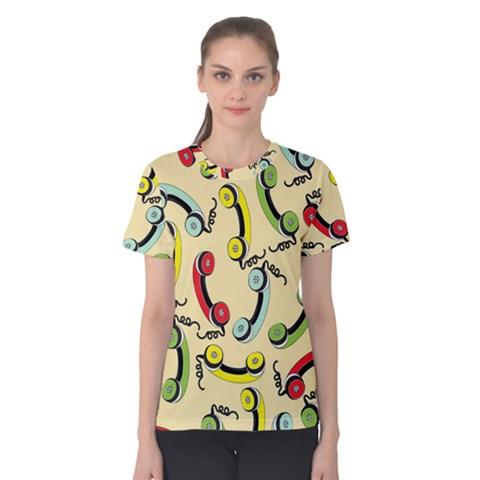Telephone Cable Green Nyellow Red Blue Women s Cotton Tee by Mariart
