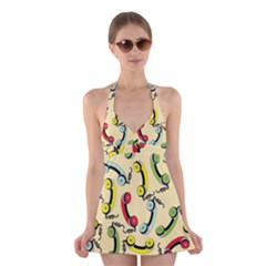 Telephone Cable Green Nyellow Red Blue Halter Swimsuit Dress