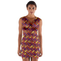 Linje Chevron Blue Yellow Brown Wrap Front Bodycon Dress