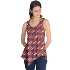 Linje Chevron Blue Yellow Brown Sleeveless Tunic by Mariart
