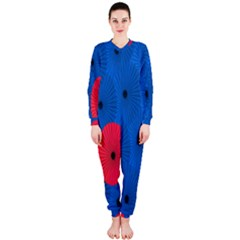 Pink Umbrella Red Blue Onepiece Jumpsuit (ladies)  by Mariart