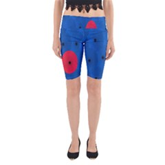 Pink Umbrella Red Blue Yoga Cropped Leggings by Mariart