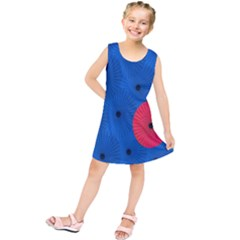 Pink Umbrella Red Blue Kids  Tunic Dress by Mariart