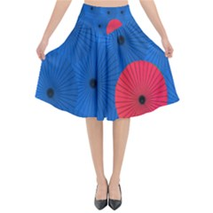 Pink Umbrella Red Blue Flared Midi Skirt by Mariart