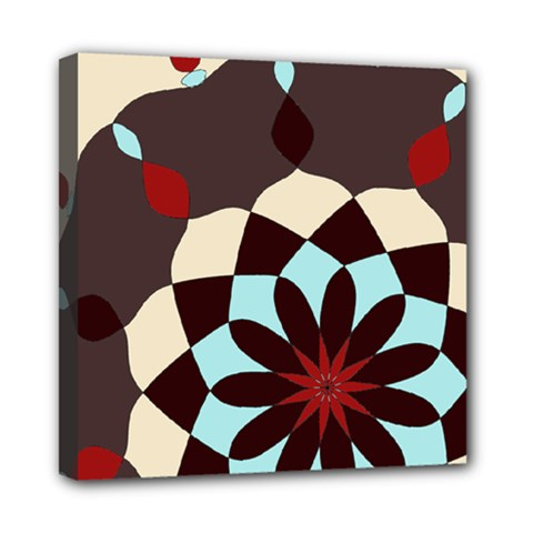 Red And Black Flower Pattern Mini Canvas 8  X 8  by digitaldivadesigns