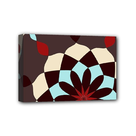 Red And Black Flower Pattern Mini Canvas 6  X 4  by digitaldivadesigns