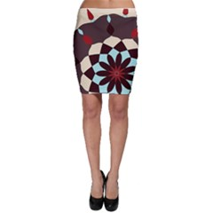 Red And Black Flower Pattern Bodycon Skirt by digitaldivadesigns