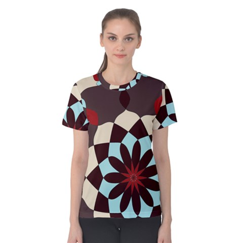 Red And Black Flower Pattern Women s Cotton Tee by digitaldivadesigns