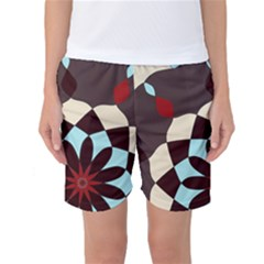 Red And Black Flower Pattern Women s Basketball Shorts by digitaldivadesigns