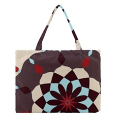Red And Black Flower Pattern Medium Tote Bag by digitaldivadesigns