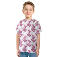 Colorful Cute Floral Design Pattern Kids  Sport Mesh Tee by dflcprintsclothing
