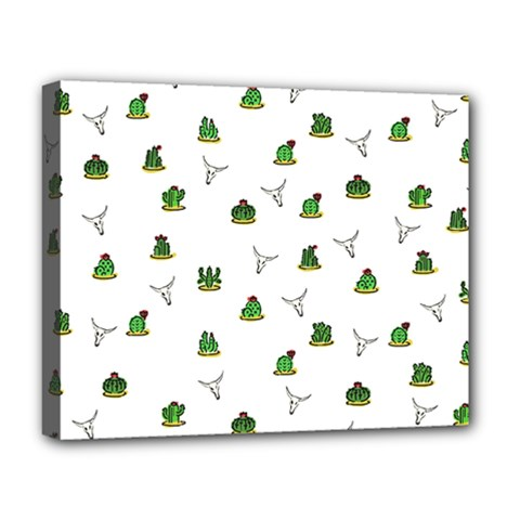 Cactus Pattern Deluxe Canvas 20  X 16   by Valentinaart
