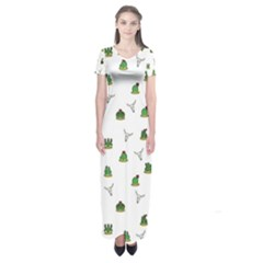 Cactus Pattern Short Sleeve Maxi Dress by Valentinaart