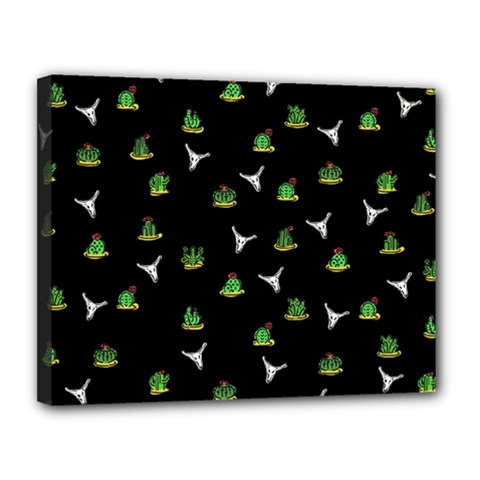 Cactus Pattern Canvas 14  X 11  by Valentinaart