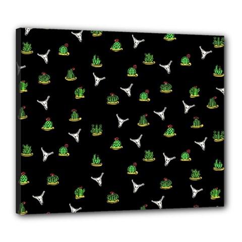 Cactus Pattern Canvas 24  X 20  by Valentinaart