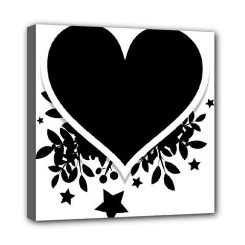 Silhouette Heart Black Design Mini Canvas 8  X 8