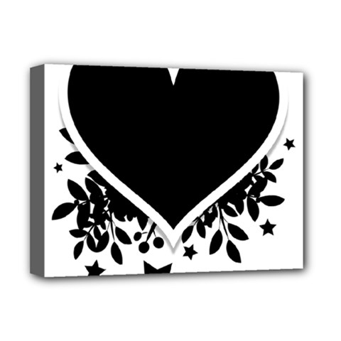 Silhouette Heart Black Design Deluxe Canvas 16  X 12   by Nexatart
