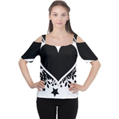 Silhouette Heart Black Design Women s Cutout Shoulder Tee