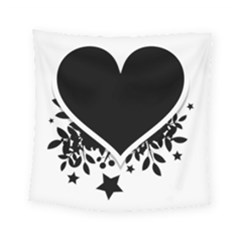 Silhouette Heart Black Design Square Tapestry (small) by Nexatart