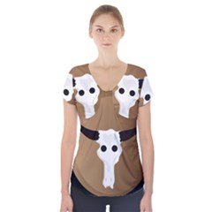 Logo The Cow Animals Short Sleeve Front Detail Top by Nexatart