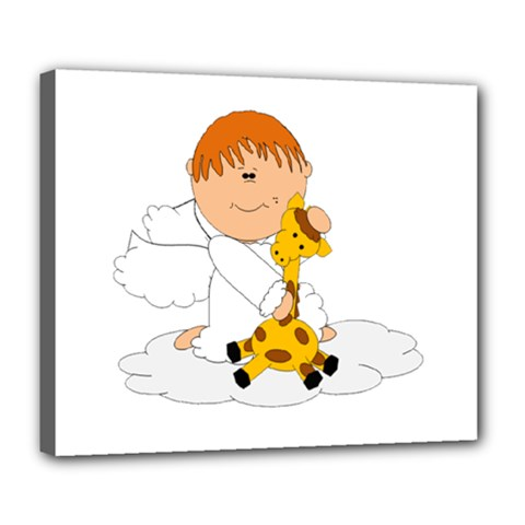 Pet Giraffe Angel Cute Boy Deluxe Canvas 24  X 20   by Nexatart
